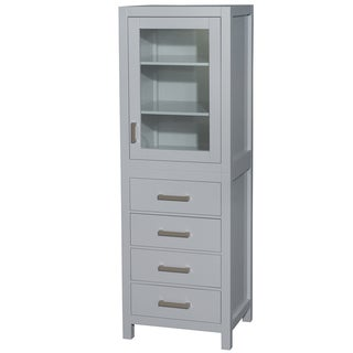 Wyndham Collection Sheffield 71 inch Linen Tower in Gray with Shelved Cabinet Storage and 4 Drawers