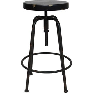 Vintage Round Adjustable Height Metal Bar Stool