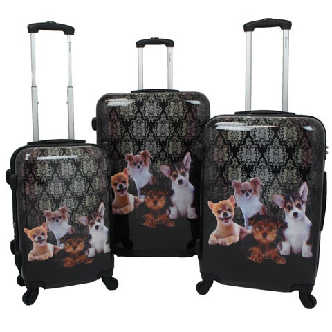 Chariot Doggies 3-piece Hardside Lightweight Upright Spinner Luggage Set