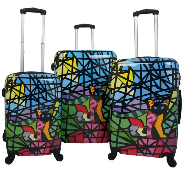 86eed236e44 Chariot Cat Stained Glass Art 3-piece Hardside Lightweight Upright Spinner  Luggage Set