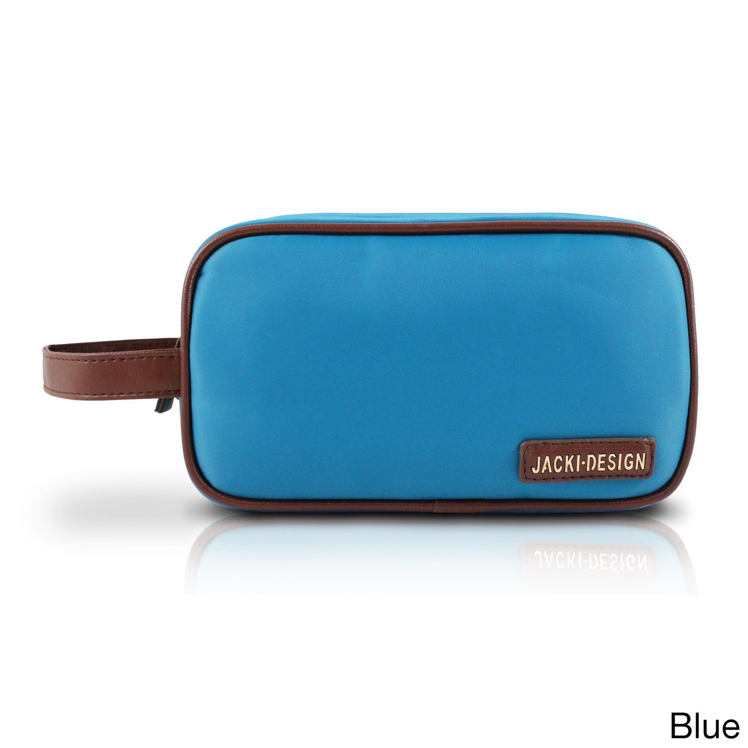 Jacki Design Essential Double Zipper Cosmetic Bag with Handle (Blue)