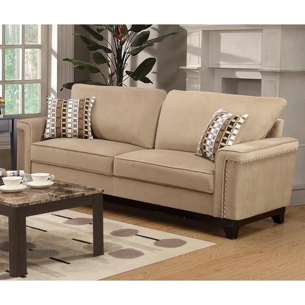 Taupe Velvet Sofa: Shop LYKE Home Opal Taupe Sofa