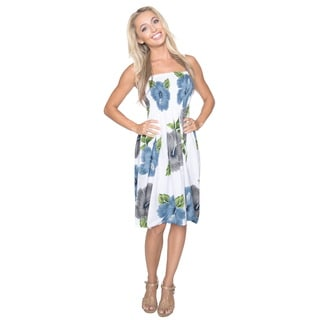 La Leela Women's Likre Grey Hibiscus Flower Printed Short Casual Tube Dress/ Skirt