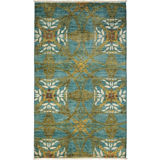 Art Deco Hand Knotted Area Rug  - 3x5 Blue