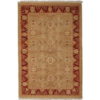 Ottoman Hand Knotted Area Rug - Red - 4 x 6