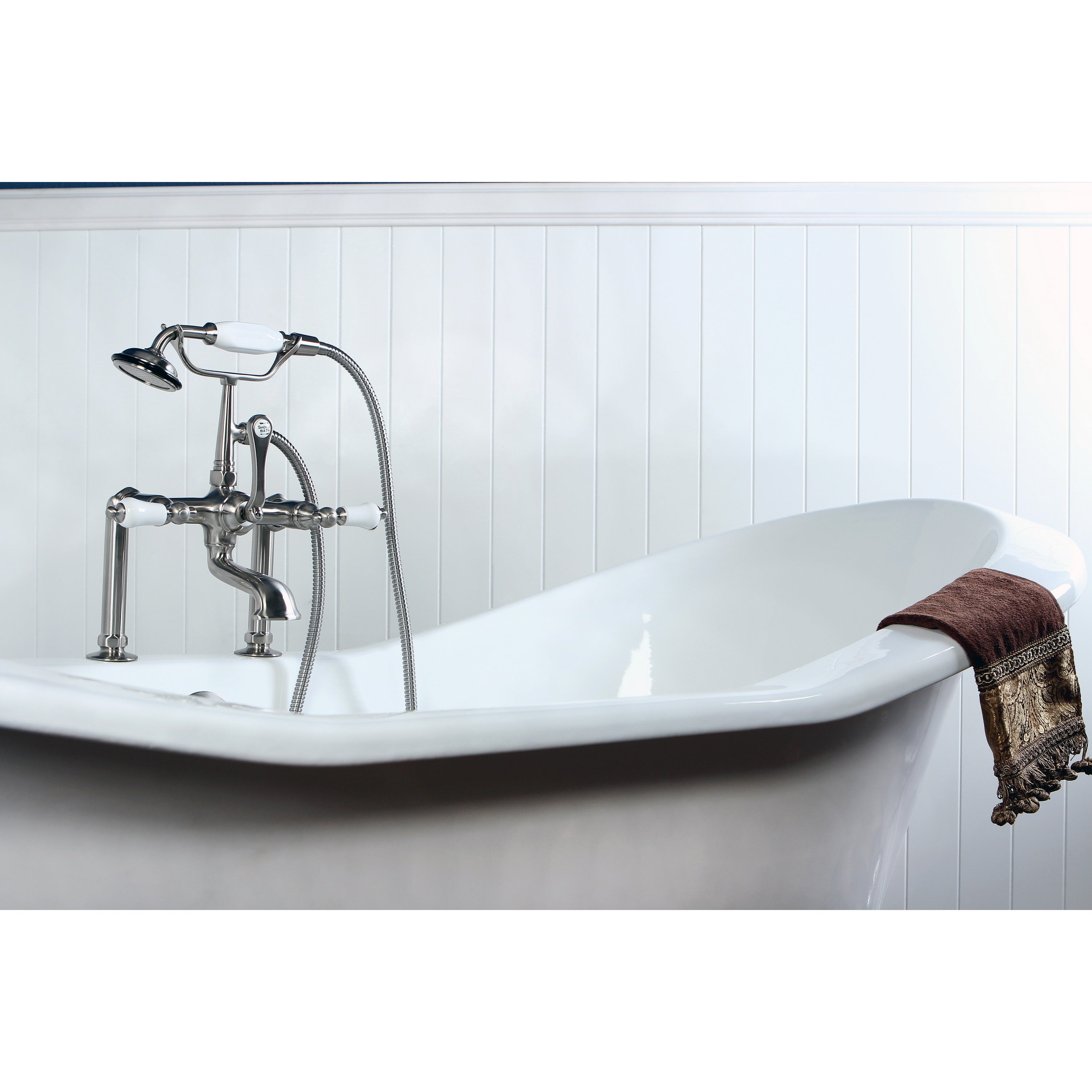 Deck Mount Brushed Nickel Clawfoot Tub Faucet With Hand Shower