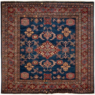 South West Hand Knotted Area Rug - 4x6 Blue