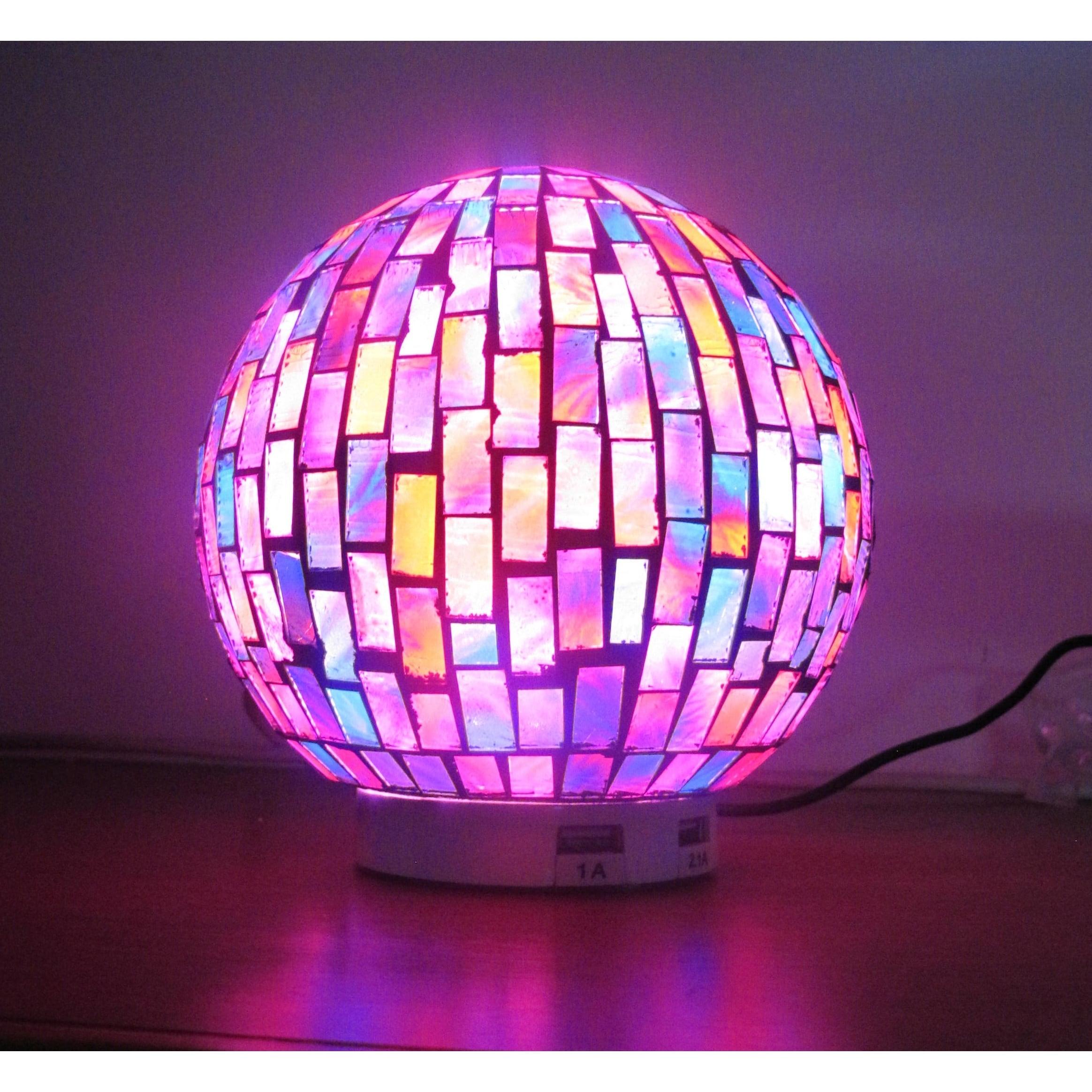 L.Idea Mosaic Globe Zen LED Table Lamp with Dual USB Char...