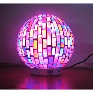 L.IDEA Mosaic Globe Zen LED Table Lamp with Dual USB Charging Base