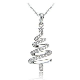 DB Designs Sterling Silver Diamond Accent Spiral Christmas Tree Necklace
