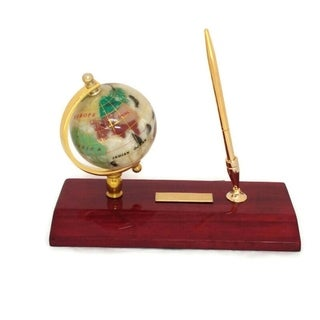 Elegance 3-inch Executive Gemstone Globe Desk-top Pen Holder with Pen
