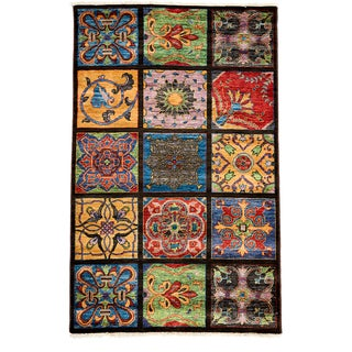 Suzani Hand Knotted Area Rug - 4x6 Brown