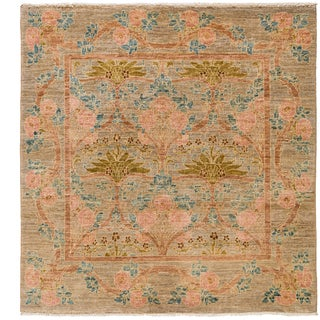 Art Deco Hand Knotted Area Rug - 4x6 Beige