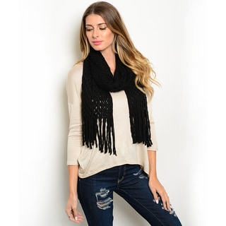 Shop the Trends Women's Chunky Knit Infinity Scarf With Thick Fringe Trim