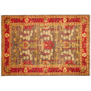 Art Deco Hand Knotted Area Rug - 4x6 Green