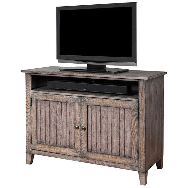 Hadlock 46 inch Weathered Greige Finish Wooden TV Stand