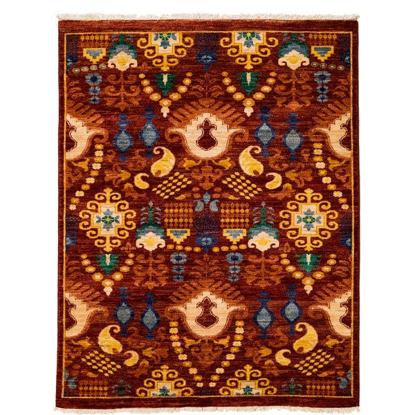 Suzani Hand Knotted Area Rug  - 4x6 Red