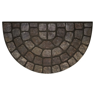 30-inch Grey Stone Slice Raised Rubber Mat