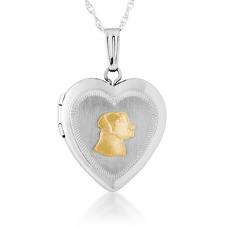 Sterling Silver and 10k Yellow Gold Labrador Heart Locket