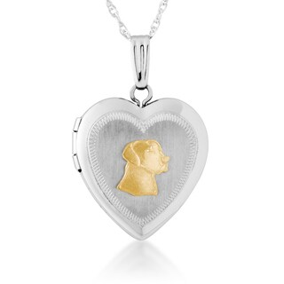 Sterling Silver and 10k Yellow Gold Labrador Heart Locket - White