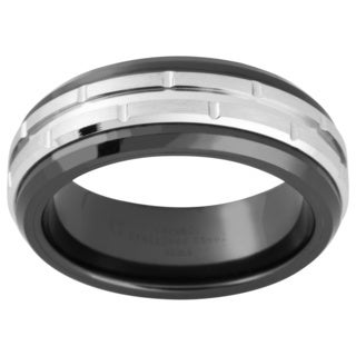 Stainless Steel and Ceramic Men's Two-tone Band