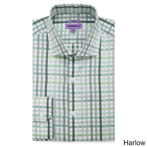 Ferrecci Men's Slim Fit Premium Cotton Striped Dress Shirt