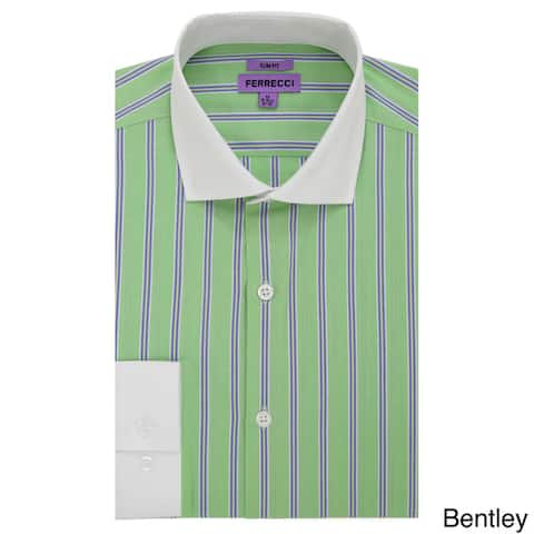82dad8f25 Ferrecci Men s Slim Fit Premium Cotton Striped Dress Shirt