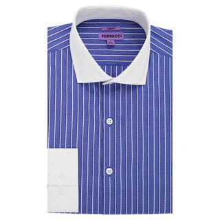 Ferrecci Men's Slim Fit Premium Cotton Striped Dress Shirt (More options available)