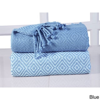 60-inch 100-percent Soft Cotton Diamond Weave Throw (Set of 2) (More options available)