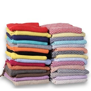 60-inch 100-percent Soft Cotton Diamond Weave Throw (Set of 2)