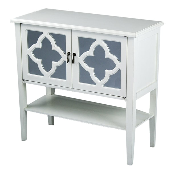 Heather Ann 2-door Console Cabinet with Mirror Insert and Bottom ...