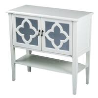 Heather Ann 2-door Console Cabinet with Mirror Insert and Bottom Shelf