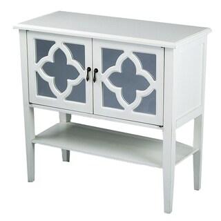 Heather Ann 2-door Console Cabinet with Mirror Insert and Bottom Shelf