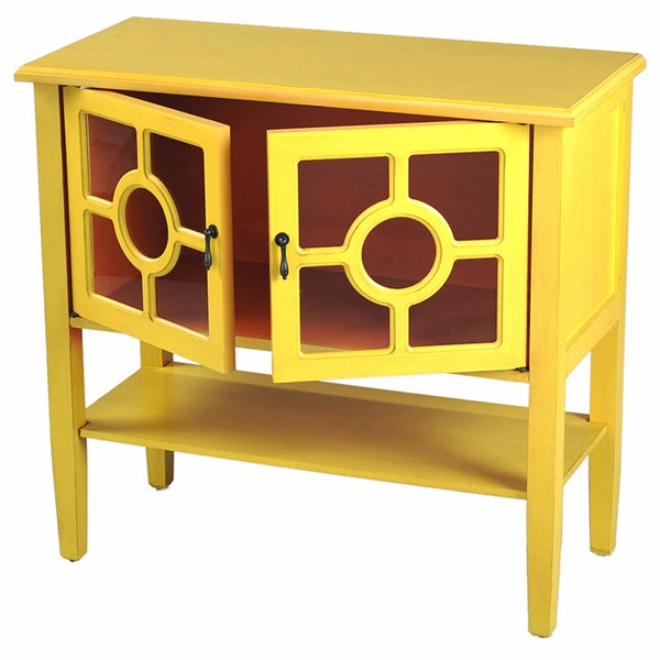 Heather Ann 2-door Console Cabinet with Glass Insert and Bottom ...