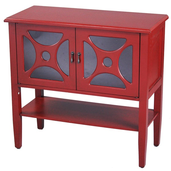 Shop Heather Ann 2 Door Console Cabinet With Glass Insert And Bottom