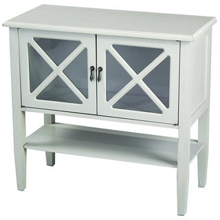 2 Door Console Cabinet with Glass Insert & Bottom Shelf