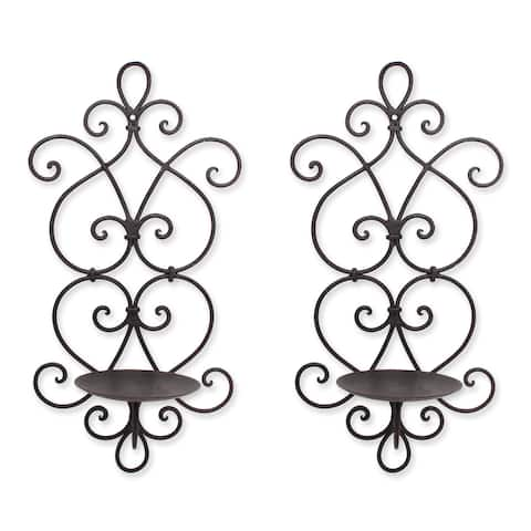 Adeco Decorative Iron Vertical Candle Holder Wall Sconce (Set of 2)