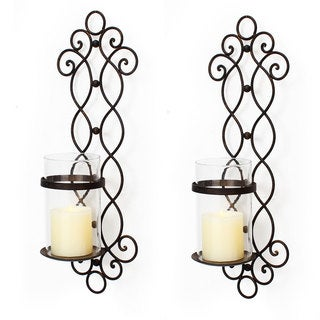 Adeco Decorative Iron Vertical Pillar Candle Holder (Set of 2)