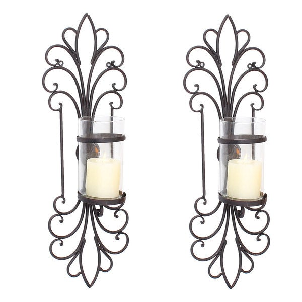 Decorative Iron Wall Sconces : Adeco Spike Style Decorative Iron Vertical Candle Holder Wall Sconce (Set of 2) - Free Shipping ...