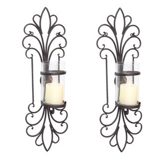 Adeco Spike Style Decorative Iron Vertical Candle Holder Wall Sconce (Set of 2)