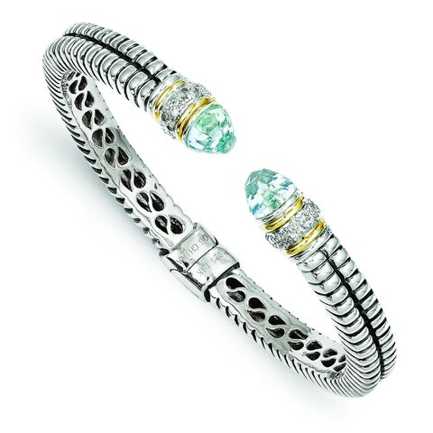 Versil Shey Couture Sterling Silver and 14k Gold Sky Blue Topaz and Diamond Cuff Bracelet