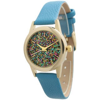 Olivia Pratt Women's Petite Sparkly Dial Leather Watch