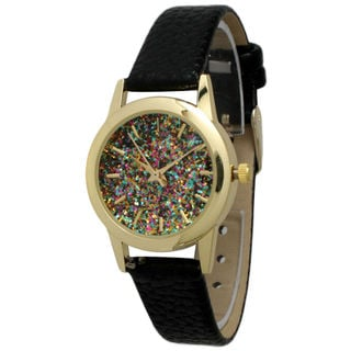 Olivia Pratt Women's Petite Sparkly Dial Leather Watch