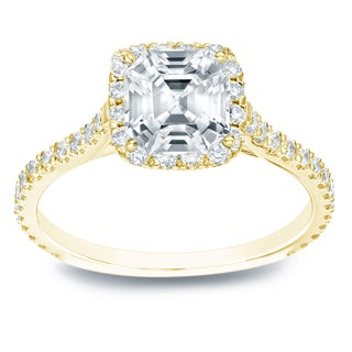Auriya 14k Gold 1 1/2ct TDW Asscher Diamond Engagement Ring (E-F,VVS1-VVS2)
