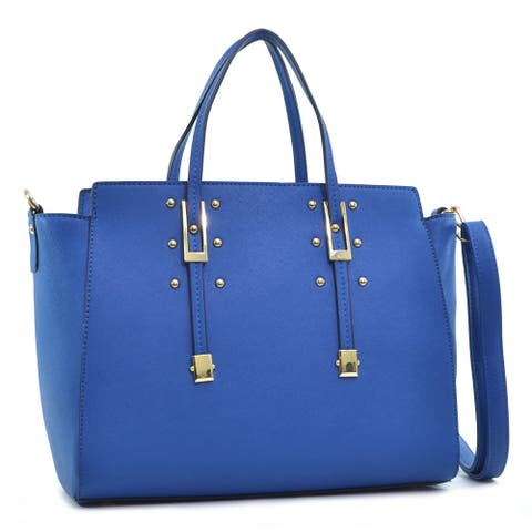 Dasein Faux Saffiano Leather Winged Studded Satchel