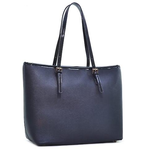 Dasein Saffiano Leather Patent Trim Tote Bag