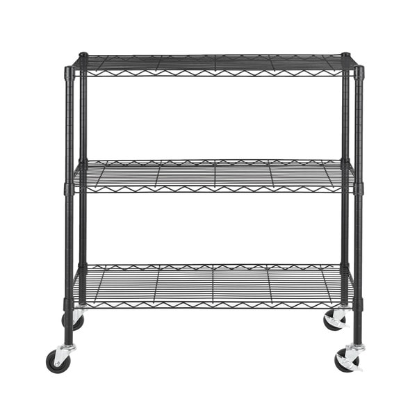 Excel 36-inch 3-tier Multi-purpose Black Wire Shelving
