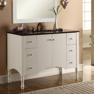 Contemporary Style 48-inch White Finish, Black Granite Top Single Sink Bathroom Vanity