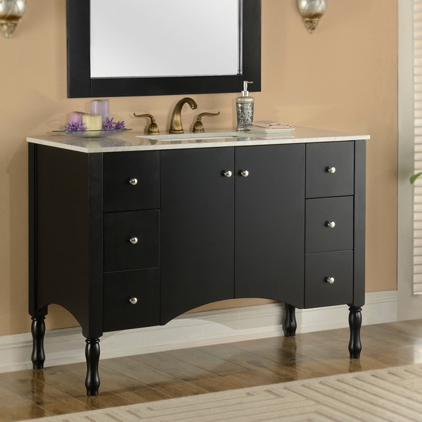 48 inch carrara white marble top single sink bathroom vanity in black