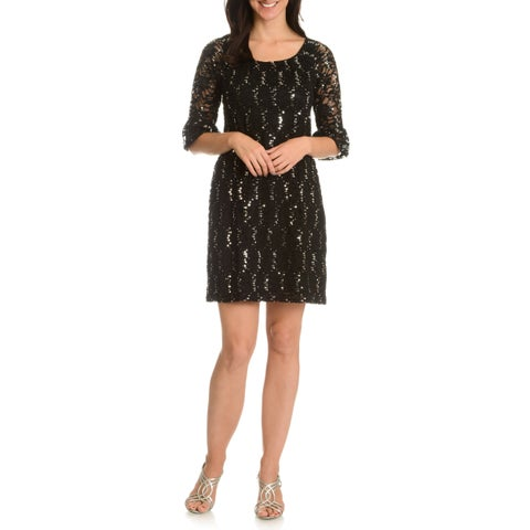 Rabbit Rabbit Rabbit Designs Women's Sequin and Embroidered Lace Dress